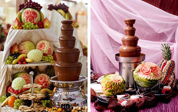 Fantana de ciocolata si sculpturi in fructe la nunta
