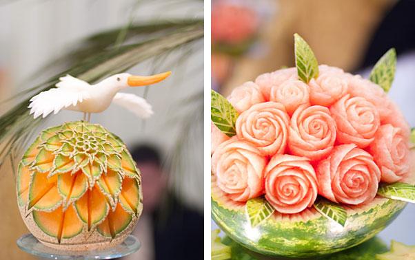 Sculpturi spectaculoase pentru bufetul de fructe la nunta